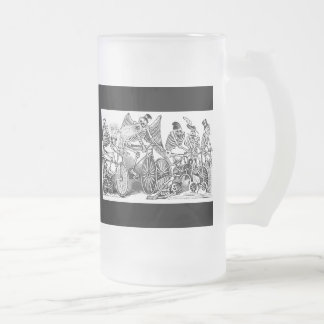 Calavera Bicyclists circa late 1800's Mexico Frosted Glass Beer Mug