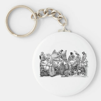Calavera Bicyclists circa late 1800's Mexico Keychain