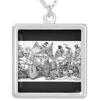 Calavera Bicyclists circa late 1800's Mexico Square Pendant Necklace