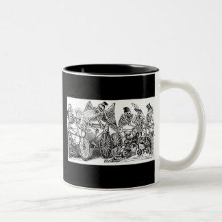 Calavera Bicyclists circa late 1800's Mexico Two-Tone Coffee Mug