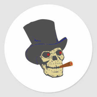 Calavera cráneo cigarro skull cigar pegatina redonda