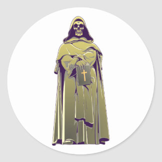 Calavera cráneo fraile skull monk pegatina redonda