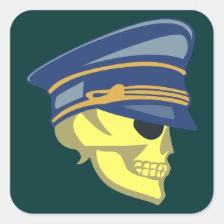 Calavera cráneo oficial skull officer pegatina cuadrada