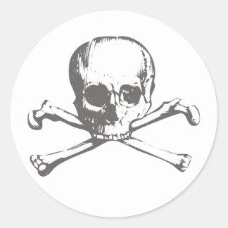 Calavera cráneo pegatina redonda