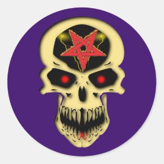 Calavera cráneo Pentagramm skull pentacle Pegatina Redonda