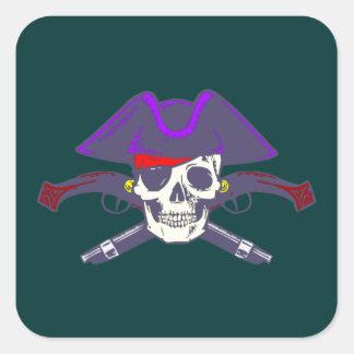 Calavera cráneo pirata skull pirate pegatina cuadrada
