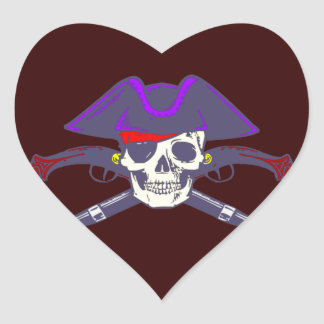 Calavera cráneo pirata skull pirate pegatina en forma de corazón