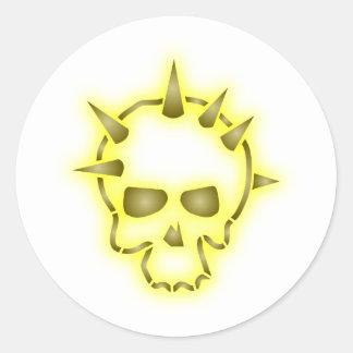Calavera cráneo punta skull spikes pegatina redonda