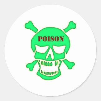 Calavera cráneo veneno skull poison pegatina redonda