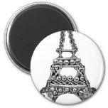 Calavera de la torre Eiffel C. último 1800's Imanes Para Frigoríficos