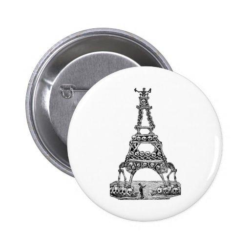 Calavera de la torre Eiffel C. último 1800's Pin