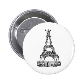 Calavera de la torre Eiffel C. último 1800's Pin Redondo De 2 Pulgadas