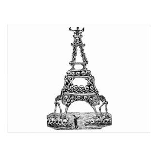 Calavera de la torre Eiffel C. último 1800's Tarjeta Postal