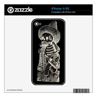Calavera De Madero Negative iphone 4/4S Skin Decals For iPhone 4S