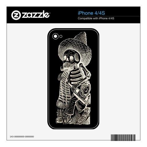 Calavera De Madero Negative iphone 4/4S Skin Decals For iPhone 4S
