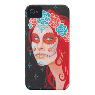 Calavera Girl with Red Hair iPhone 4 Covers