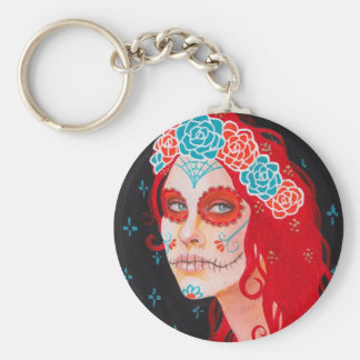 Calavera Girl with Red Hair Key Chains