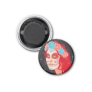 Calavera Girl with Red Hair Magnet
