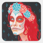 Calavera Girl with Red Hair Square Sticker