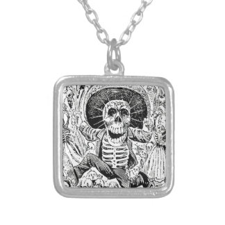 Calavera Oaxaqueña by José Guadalupe Posada 1903 Silver Plated Necklace