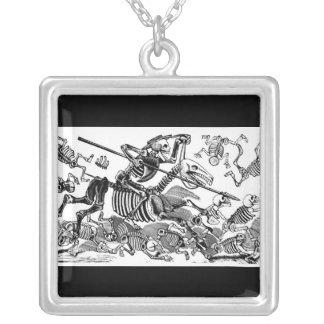 """""""Calavera of Don Quixote"""" circa early 1900's Square Pendant Necklace"""