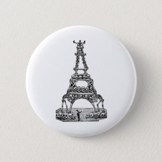 Calavera of the Eiffel Tower c. late 1800's Pinback Button