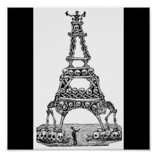 Calavera of the Eiffel Tower c. late 1800's Poster