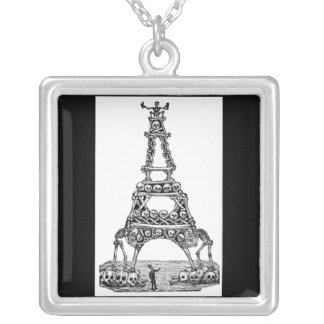 Calavera of the Eiffel Tower c. late 1800's. Square Pendant Necklace