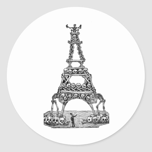 Calavera of the Eiffel Tower c. late 1800's Round Stickers