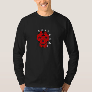 Calavera Red Skull Mens LS T-Shirt