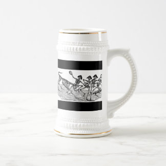 Calaveras at the Running of the Bulls c. 1800's Beer Stein