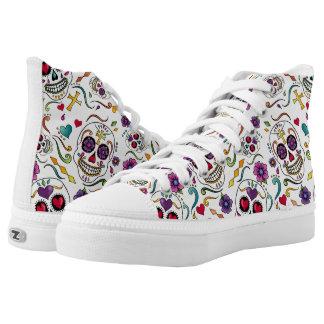 Calaveras Celebration - white hi-tops Printed Shoes