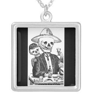 Calaveras from Guadalajara, Mexico Square Pendant Necklace