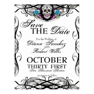 Calaveras Sugar Skull & Flourishes Save the Date Postcard