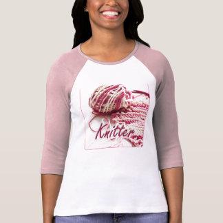 Calcetero abigarrado del rosa y blanco playera