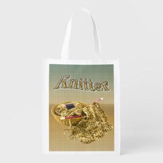 Calcetero - teja a mano el moreno/el hilado de la bolsas de la compra