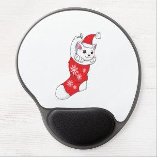 Calcetín blanco de encargo del rojo del gato del alfombrillas de raton con gel