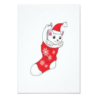 """Calcetín blanco de encargo del rojo del gato del invitación 3.5"""" x 5"""""""