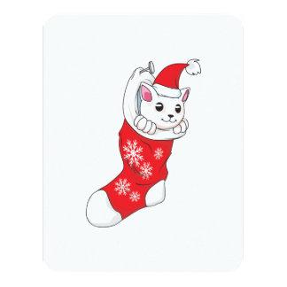 """Calcetín blanco de encargo del rojo del gato del invitación 4.25"""" x 5.5"""""""