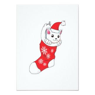 """Calcetín blanco de encargo del rojo del gato del invitación 4.5"""" x 6.25"""""""