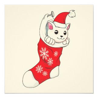 """Calcetín blanco de encargo del rojo del gato del invitación 5.25"""" x 5.25"""""""