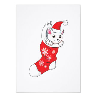 """Calcetín blanco de encargo del rojo del gato del invitación 5.5"""" x 7.5"""""""