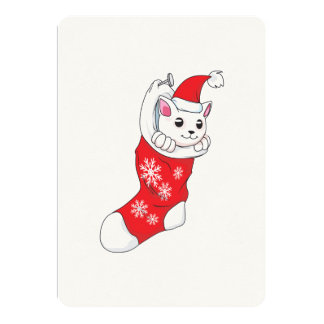 """Calcetín blanco de encargo del rojo del gato del invitación 5"""" x 7"""""""