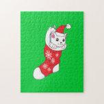 Calcetín blanco de encargo del rojo del gato del puzzle