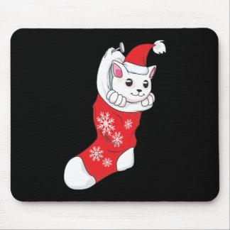 Calcetín blanco de encargo del rojo del gato del tapetes de ratón