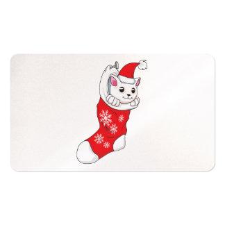 Calcetín blanco de encargo del rojo del gato del tarjeta de visita