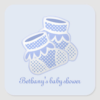 calcetines del bebé azul pegatina cuadrada