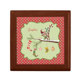 Calcetines lindos del duende y del navidad cajas de joyas
