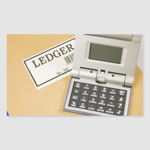Calculadora y libro mayor (2) pegatina rectangular
