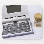 Calculadora y monedas tapete de ratones